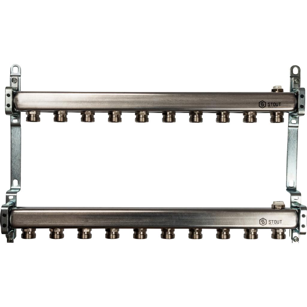 STOUT Коллектор из нержавеющей стали для радиаторной разводки 10 вых.