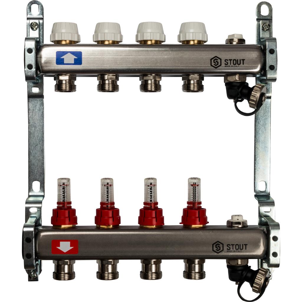 STOUT Коллектор из нержавеющей стали с расходомерами, с клапаном вып. воздуха и сливом 4 вых.