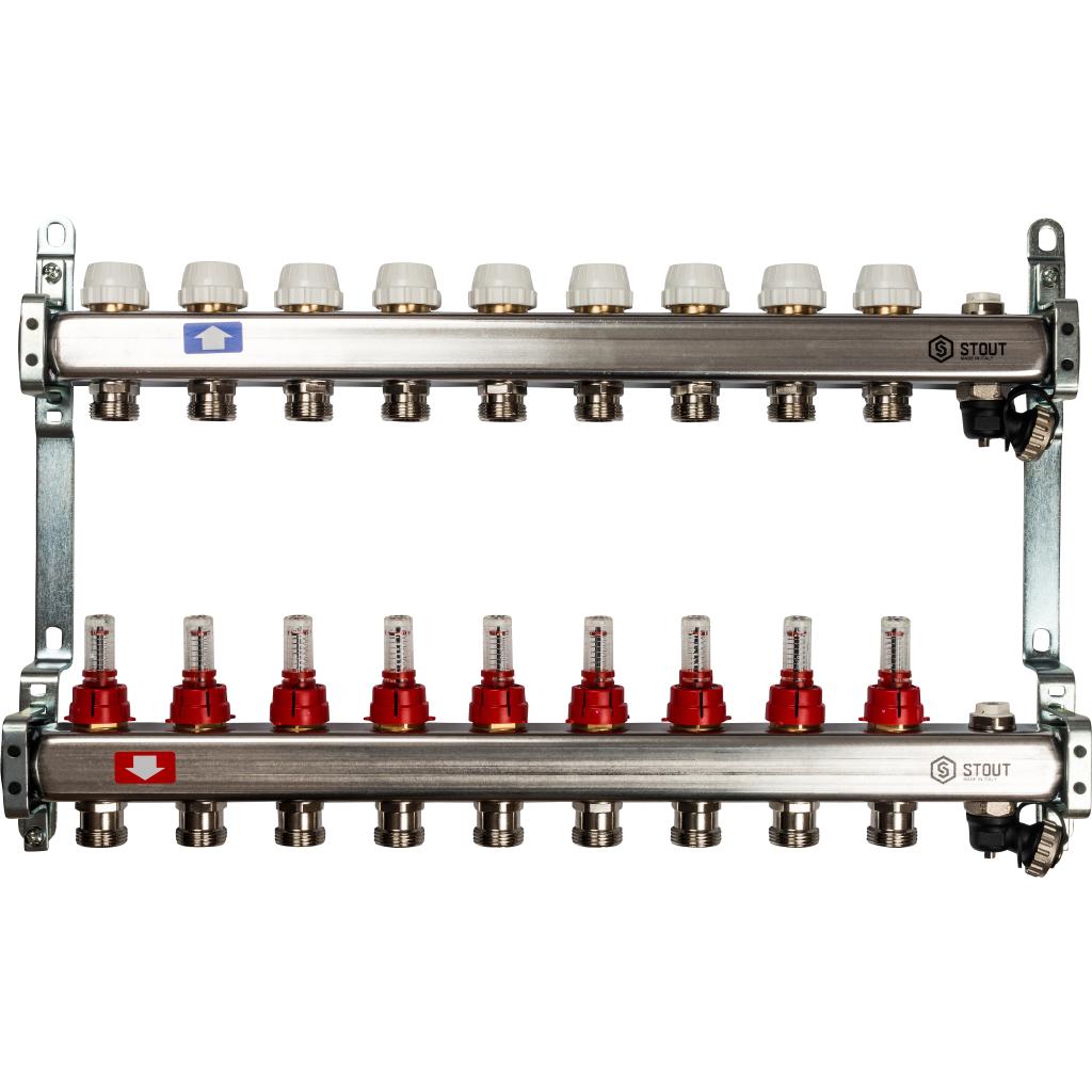 STOUT Коллектор из нержавеющей стали с расходомерами, с клапаном вып. воздуха и сливом 9 вых.